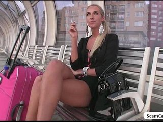 Blonde girl Jenny have sex in public in exchange for a video camera | blondecamsold manpublic