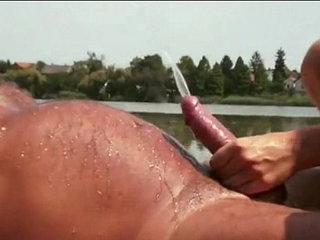 Dolly Diore has a golden shower with an old man by the lake   goldenshowerold man