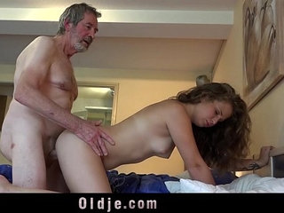 Teenie maid knows how to fuck boss old cock cum in mouth cleaning | bosscum in mouthmaidold man