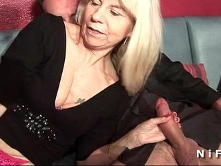 French mature in stockings gets double penetrated in a swinger club | doublefrenchstockingsswingers