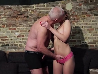 Grandpa gets his cock sucked and wet by beautiful little girl with glasses | beautifulcockgirlglassesgrandpawet