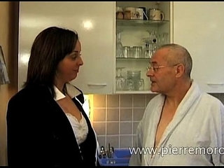 French brunette blows an old man | brunettefrenchold man