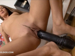 Thin brunette stretching her pussy with thick dildos | brunettedildopussystretchingthick